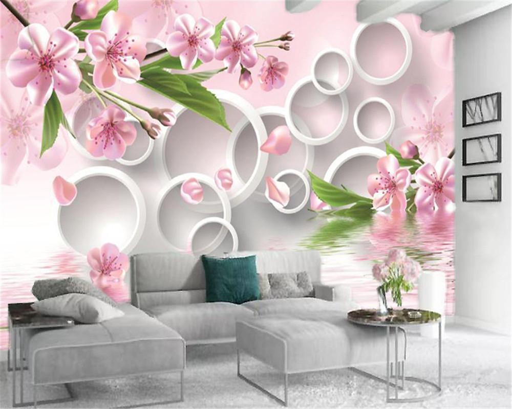 3D 현대 벽지 흰색 원 핑크 꽃 호수 표면 홈 인테리어 거실 침실 Wallcovering 협력 HD 배경 화면