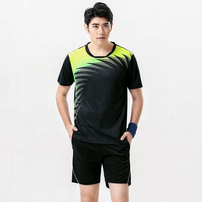 Novos conjuntos de Badminton dos homens, roupas de badminton esportes, tênis desgaste camisa + calções Azul 1 conjunto de Ténis de Mesa Uniformes 5063A