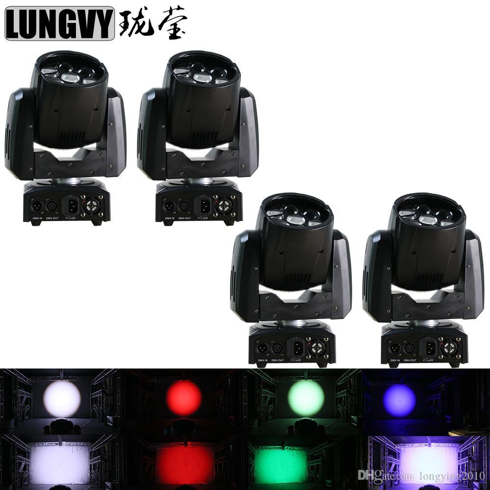 4 unids / lote Hi-Quality Mini Wash 7x12W RGBW 4IN1 Quad Led cabeza móvil Zoom Light DJ profesional Luz de escenario