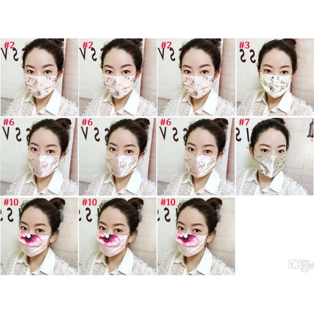 İpek Yüz Ağız Kapak Kadınlar Çiçek Baskılı Açık Koruma Yıkanabilir Yeniden kullanılabilir Maskeler Parti Hediye 10 Çeşitleri Maske