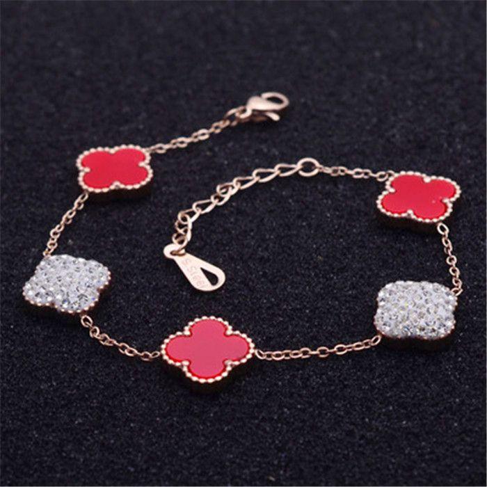 Nouvelle façon simple rose bracelet coeur herbe chanceux papillon couleur or en titane acier dames bijoux de jour de valentine 19cm Fine Jewelry 18K jo