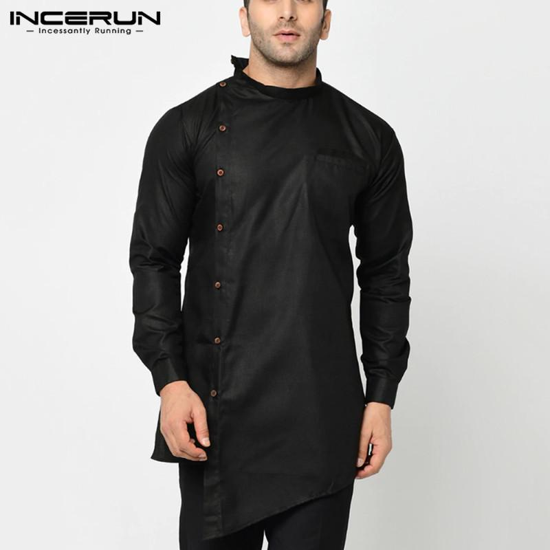 INCERUN muçulmana Homens Irregular shirt de manga comprida Sólidos Fique Collar Vintage cor de longa Tops Botão étnicas shirts Roupa 7