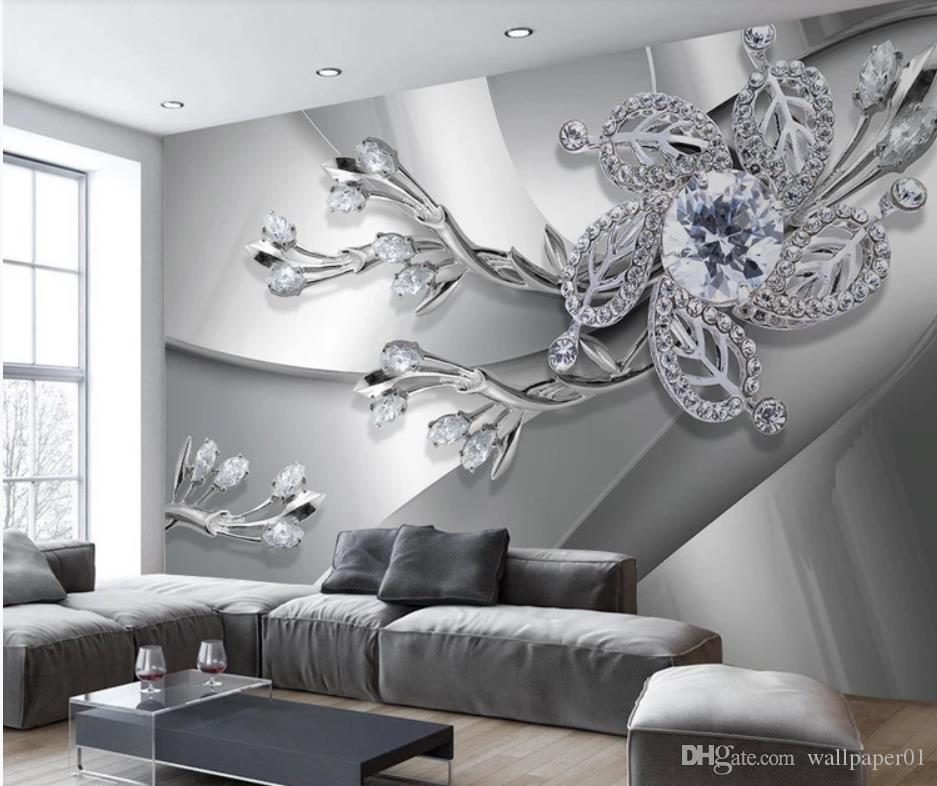Modern Living Room Wallpapers Metal Texture Diamond 3d Stereo