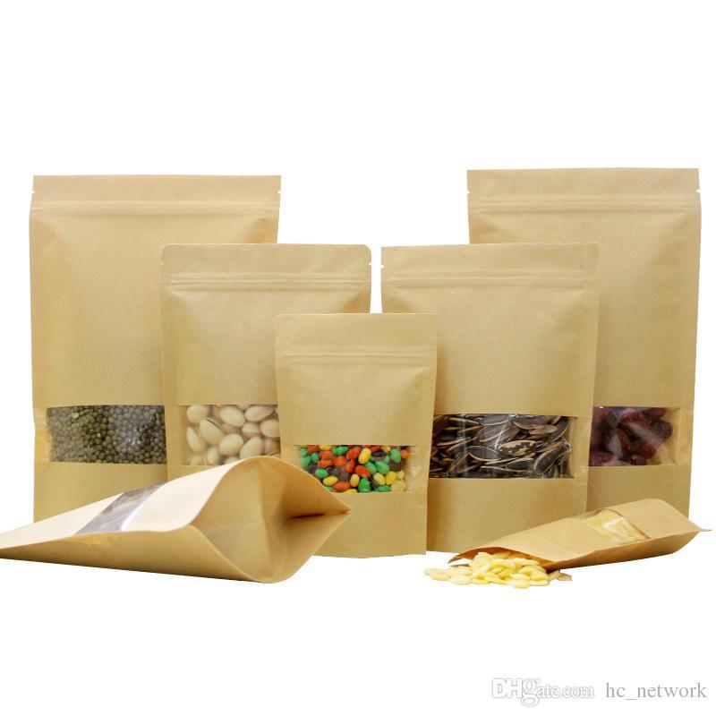 Kraft Paper Bag Stand Up Gift Сушеные Продукты Фруктовый чай Упаковка мешки Kraft Paper Bag Window Розничная Zipper самоклеющимися Сумки