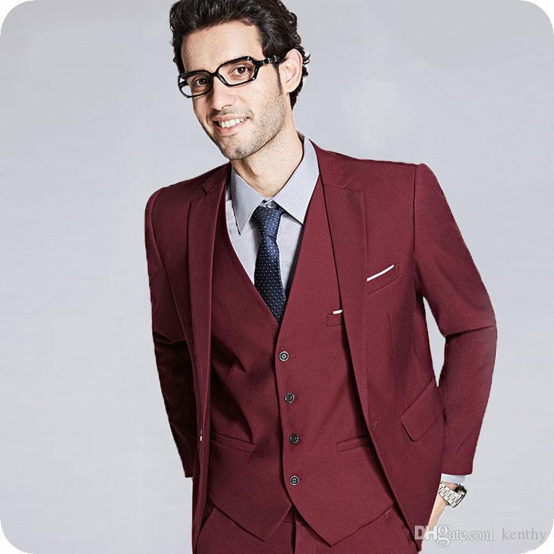 Formal terno do casamento dos homens de negócio Homem Blazers Burgundy Groom Tuxedo 3piece entalhado lapela Últimas Pants Brasão Designs Noivo Costume Homme