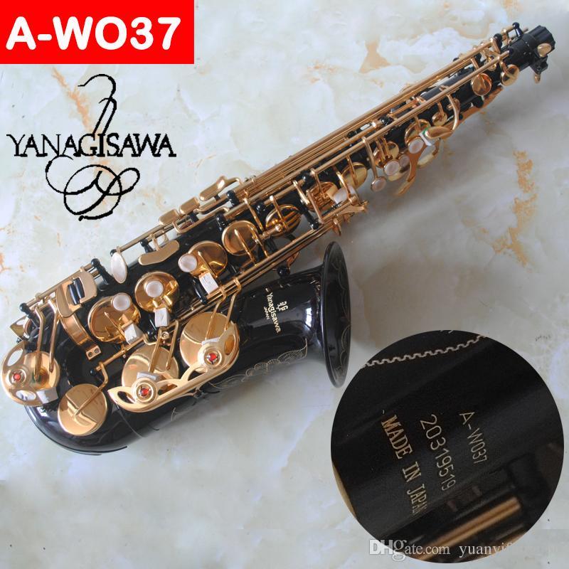 Brand Japan Saxophone Alto A-WO37 A-9937 Eb Black gold Key Alto Sax Super Play Professional musical instrument Mouthpiece free shipping