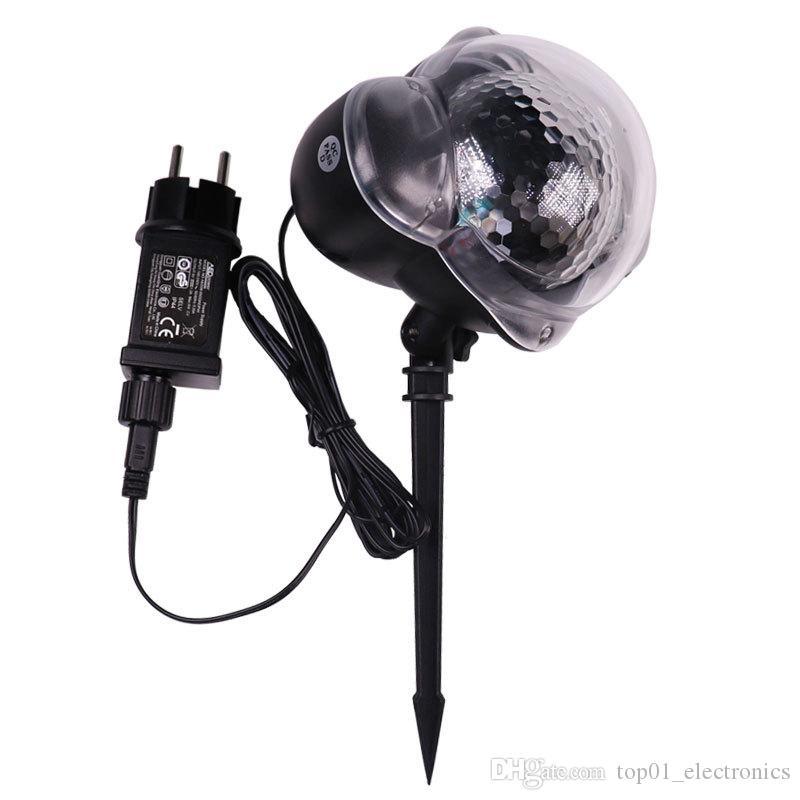 미니 눈송이 프로젝터 크리스마스 눈송이 LED 레이저 빛 눈 떨어지는 실외 방수 크리스마스 신년 파티 장식 램프 장식