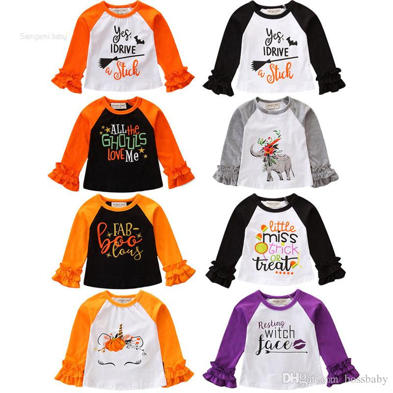 Säuglings-Baby-Cartoon Tops Baby Halloween Theme Cartoon Brief Herbst Tops Kinder 8 Farbe Stitching Schulter-Spitze-Hülsen-Hemd 06