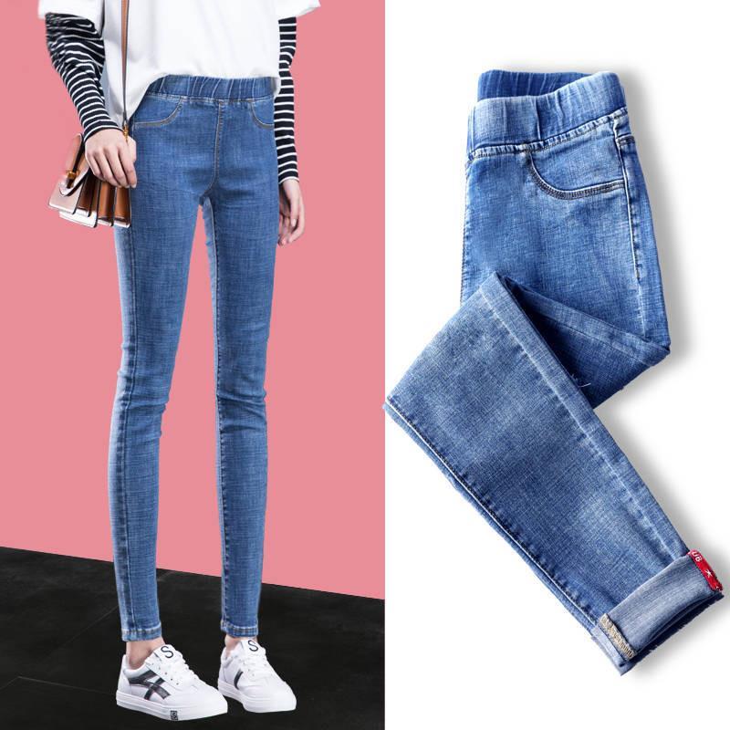 جينز المرأة عارضة الشارع ارتداء مرونة الخصر نحيل الطالب سليم تمتد عالية مخصر صديق الدنيم السراويل