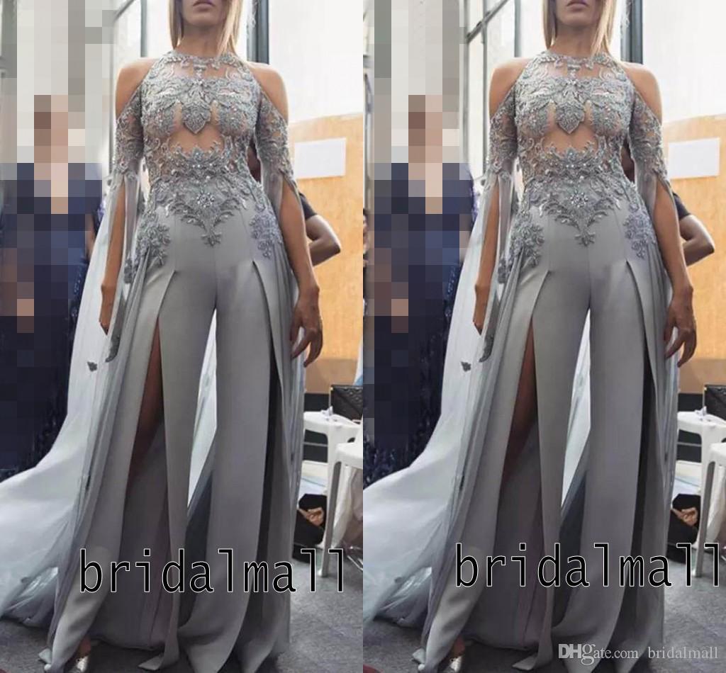Grau Chiffon Frauen Overalls Elegante High Split Lange Abendkleider Saudi Arabisch Illusion Formale Abendkleider Spitze Applizierte Party Hosenanzug