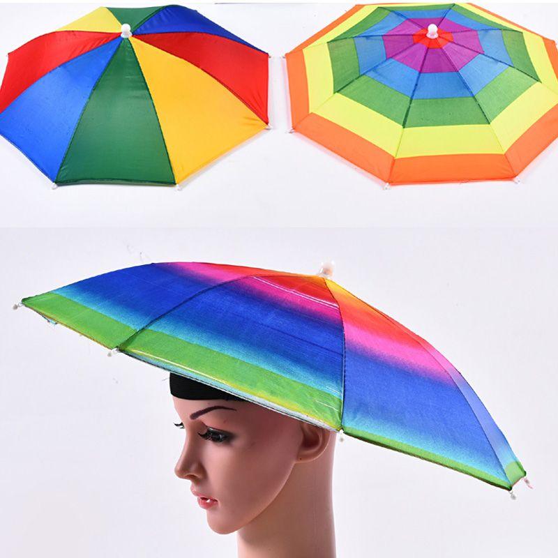 Color del arco iris Paraguas Sombrero Adulto niños al aire libre plegable Cap Lluvia Paraguas Sun para la pesca que acampa yendo de Golf