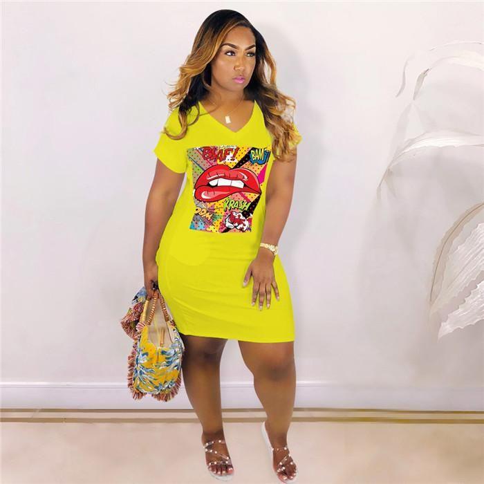 Mode femmes Vêtements Casual Femmes Big Lip Imprimer Robe d'été Designer V Col droit Graffiti manches chauve-souris T-shirts Robes