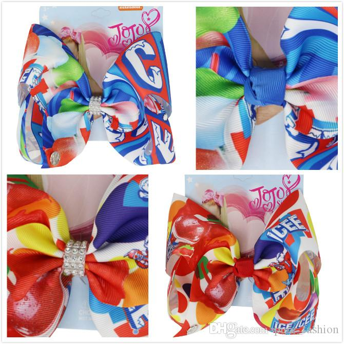 "6pcs/lot Cool ICEE cartoon print ribbon 8"" Large Hair Clip jojo swia Hair Bows for Baby Girls Bowknot Hairpin Handmade Hair Accessories"