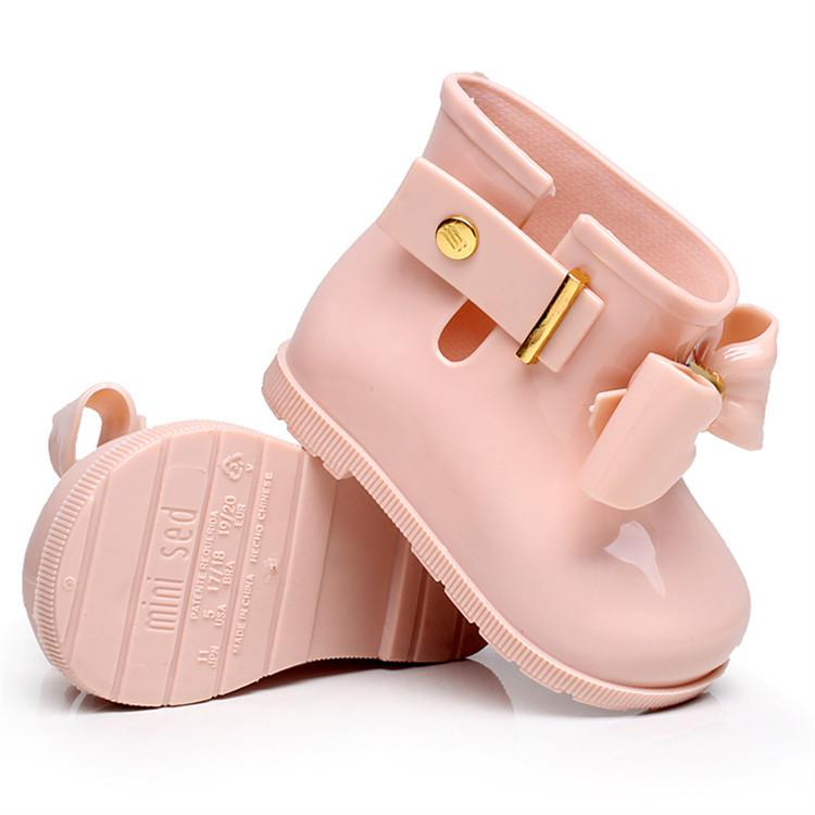 Mini Melissa 2019 New Mini Children Jelly Bowknife Rain Boots Non-slip Waterproof Girls Rain Boots Jelly Shoes Princess Sandals