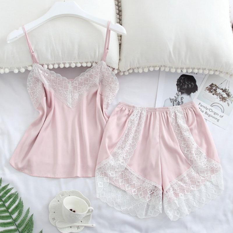 Горячая сексуальная атласная пижама комплект женская пижама мягкий V-образным вырезом эластичное кружево удобные спагетти ремень короткие наборы