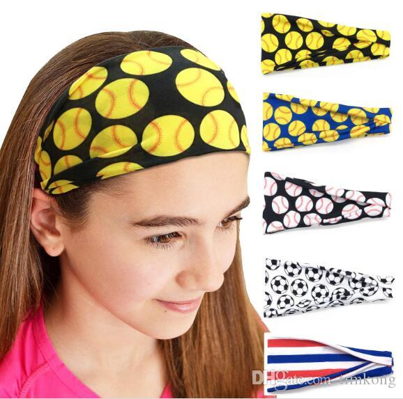 2020 Women Headband Baseball Sports Hair Bands Men Softball Sweat Headbands Football Team Yoga Fitness Scarf Girl Sports Towel