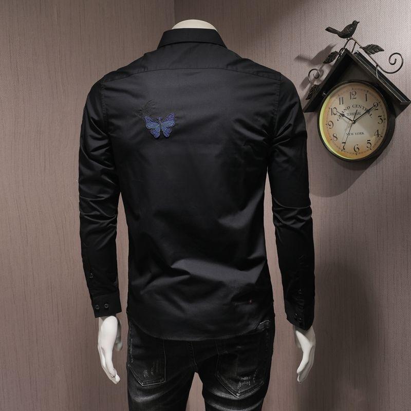 Haute Qualité Hommes manches longues Chemises broderie Slim col carré noir Chemisier Femme Automne Bureau simple boutonnage Shirt