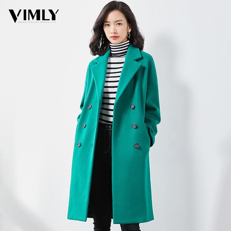 Vimly Woman Elegant Winter Wool Long Coat Warm Solid Office Ladies Green Red Women Outwear Casual Dro[ Shoulder Blend Coat MX191129