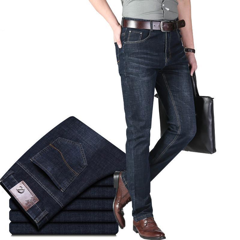 Nuovo Jeans Uomo Cotone Classic commerciali diritti casuali Stretch Jeans Nero Blu maschio Denim Pantaloni a sigaretta Uomo Tute 40 42