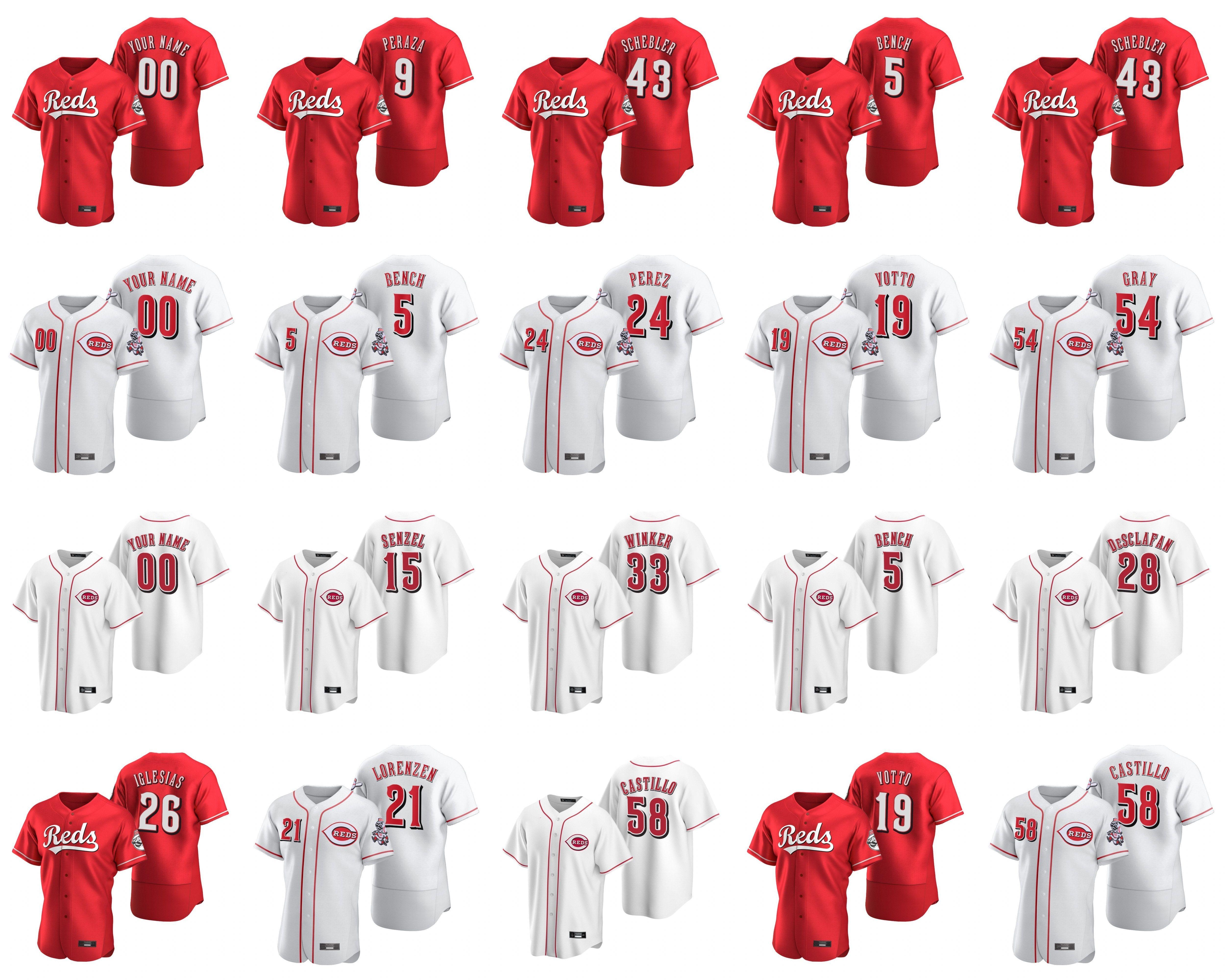 2020 Pedro Strop Jersey Amir Garrett Scott Schebler Anthony DeSclafani Ken Griffey Jr Eugenio Suarez Kırmızı Beyzbol Formalar Özel Dikişli