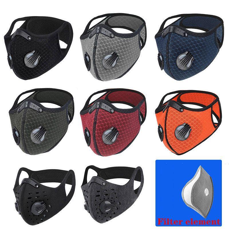 Einstellbare Radsporttraining Maske PM2.5 Anti-Verschmutzung Aktivkohlefilter waschbare Maske für Motorrad Männer Frauen Outdoor Sport