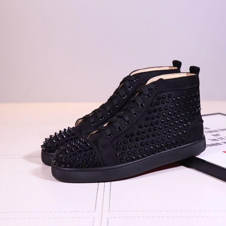Los zapatos del diseñador roja pico inferior zapatillas de deporte de los zapatos de cuero secundaria de la pantorrilla zapatos del holgazán del ante de los hombres del tamaño ocasional de lujo las mujeres con la bolsa de polvo de la caja