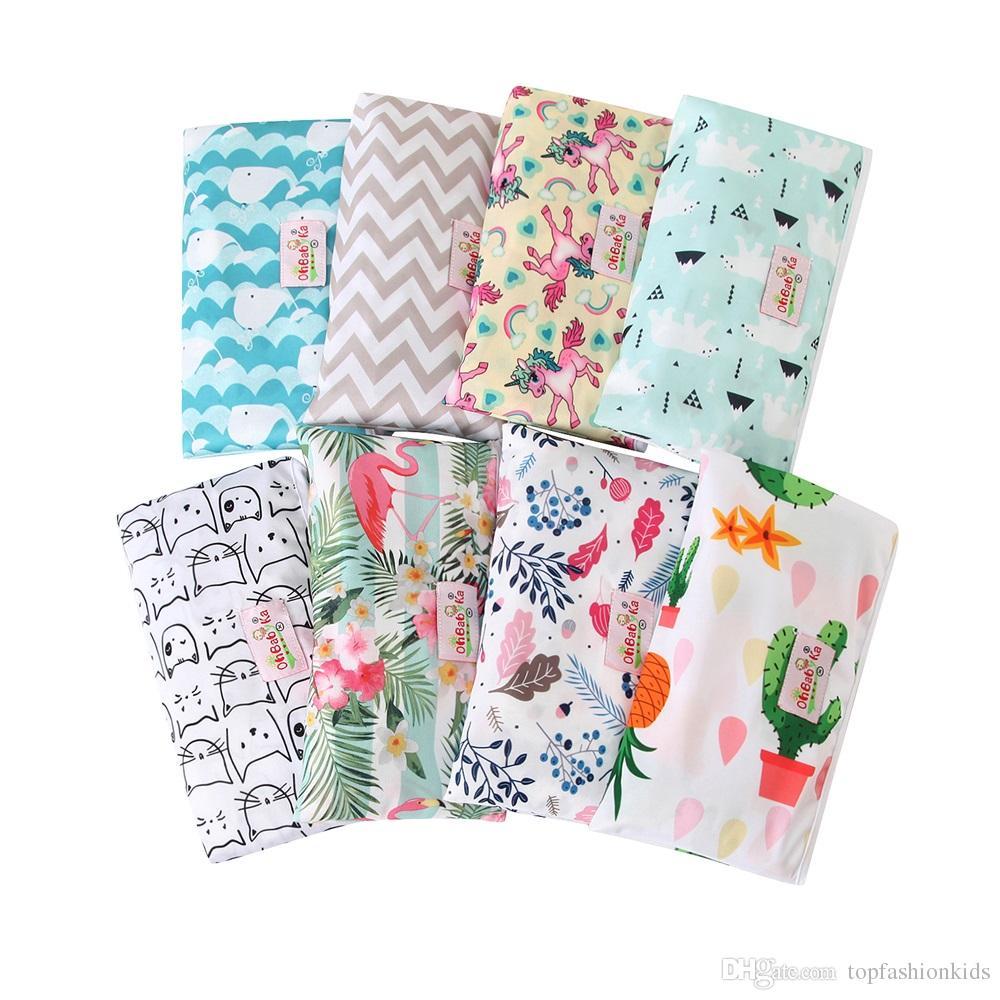 Baby Diaper Bag Waterproof Mummy Bags Reusable Baby Changing Pads Travel Bags Patterns Print Newborn Diapering Bag