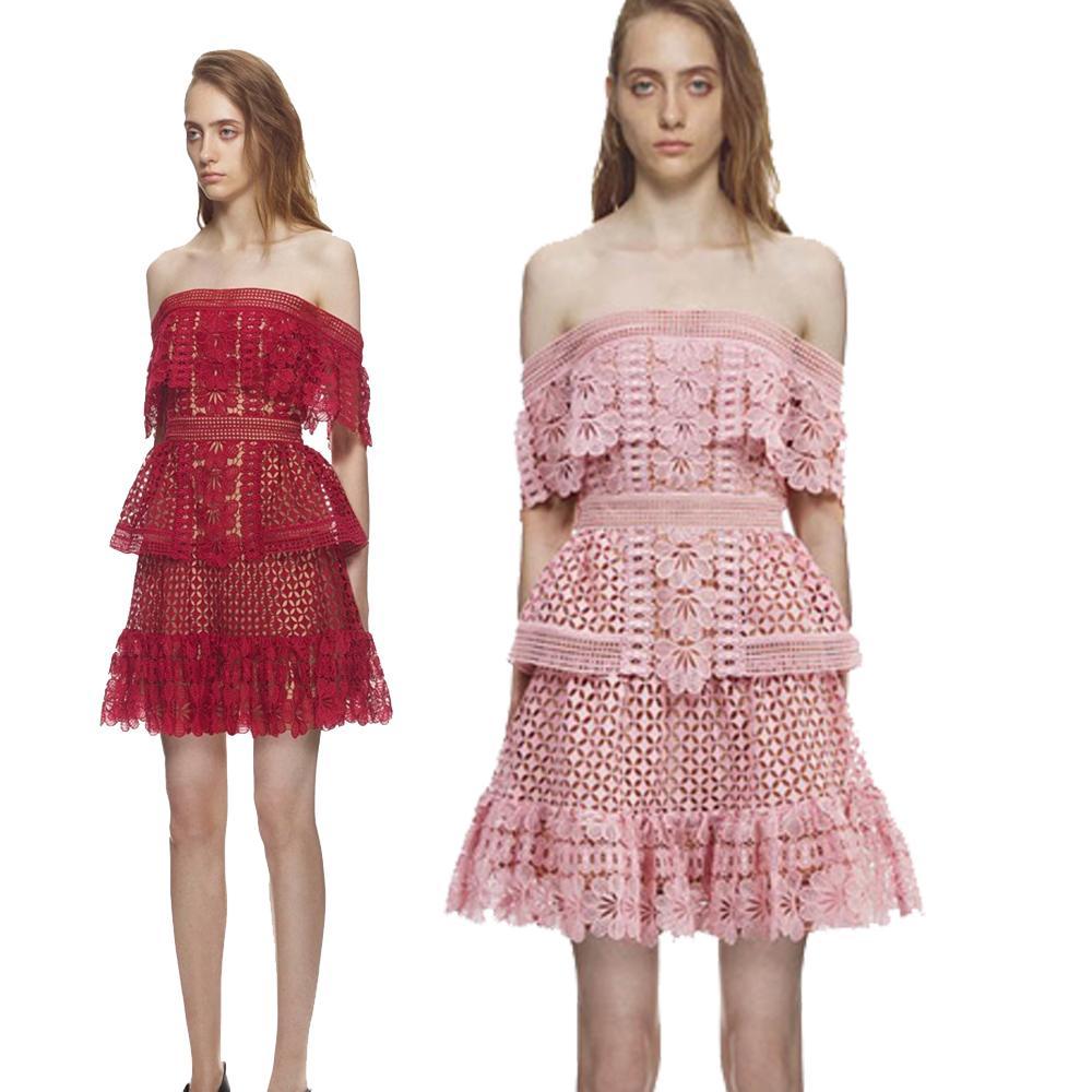 2019 Offre De Printemps Épaule Femmes Robes Sexy Rouge Rose Mini Robes Floral Dentelle Robe De Fête De Haute Qualité