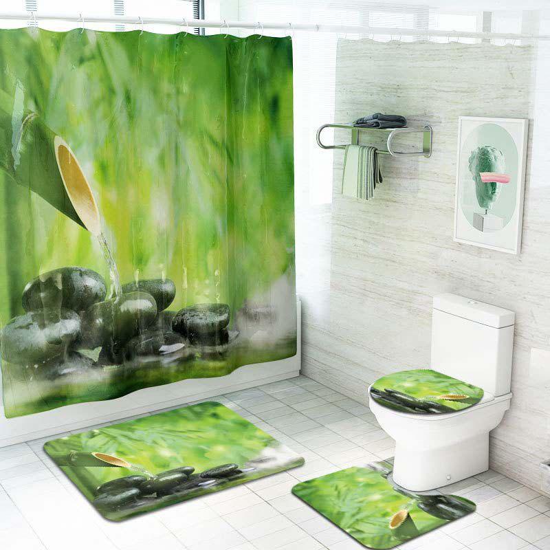 Duş Perdesi Tuvalet Kapağı Mat Kaymaz Halı Seti 70.8x70.8 Inç Akan Su Bambu Polyester Elyaf Su Geçirmez banyo Set
