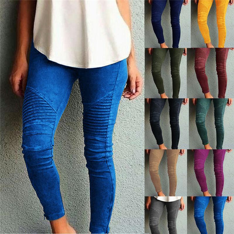 Womens Biker Skinny Ankle Zipper Pleated Stretch Low Waist Classic Pencil Pants 2019 women Newest Leggings Denim Jean Leggings
