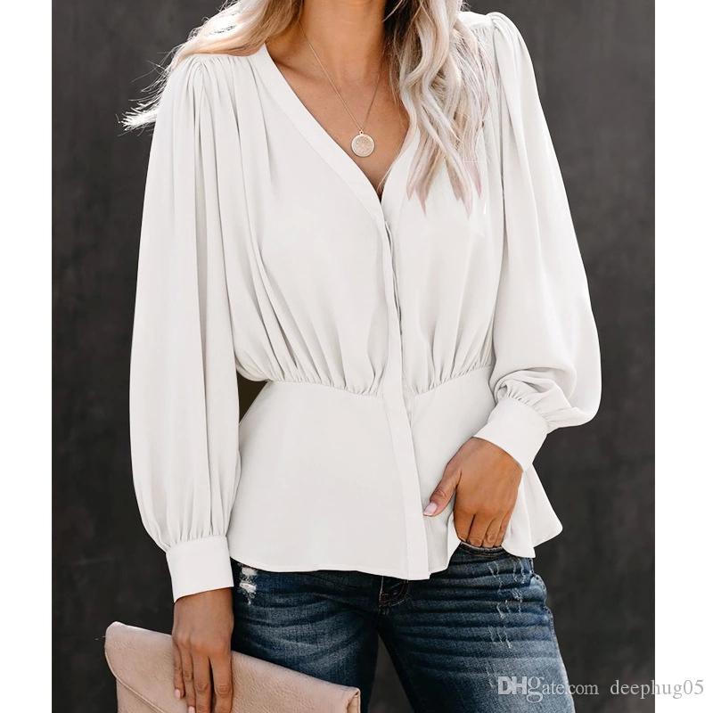 Düğme Moda Kadın Bluzlar 2019 Yeni Yaka Gömlek ile Kadın Tops Ve Bluzlar Uzun Kollu Lady Hırka Yaka Bluz Aşağı çevirin