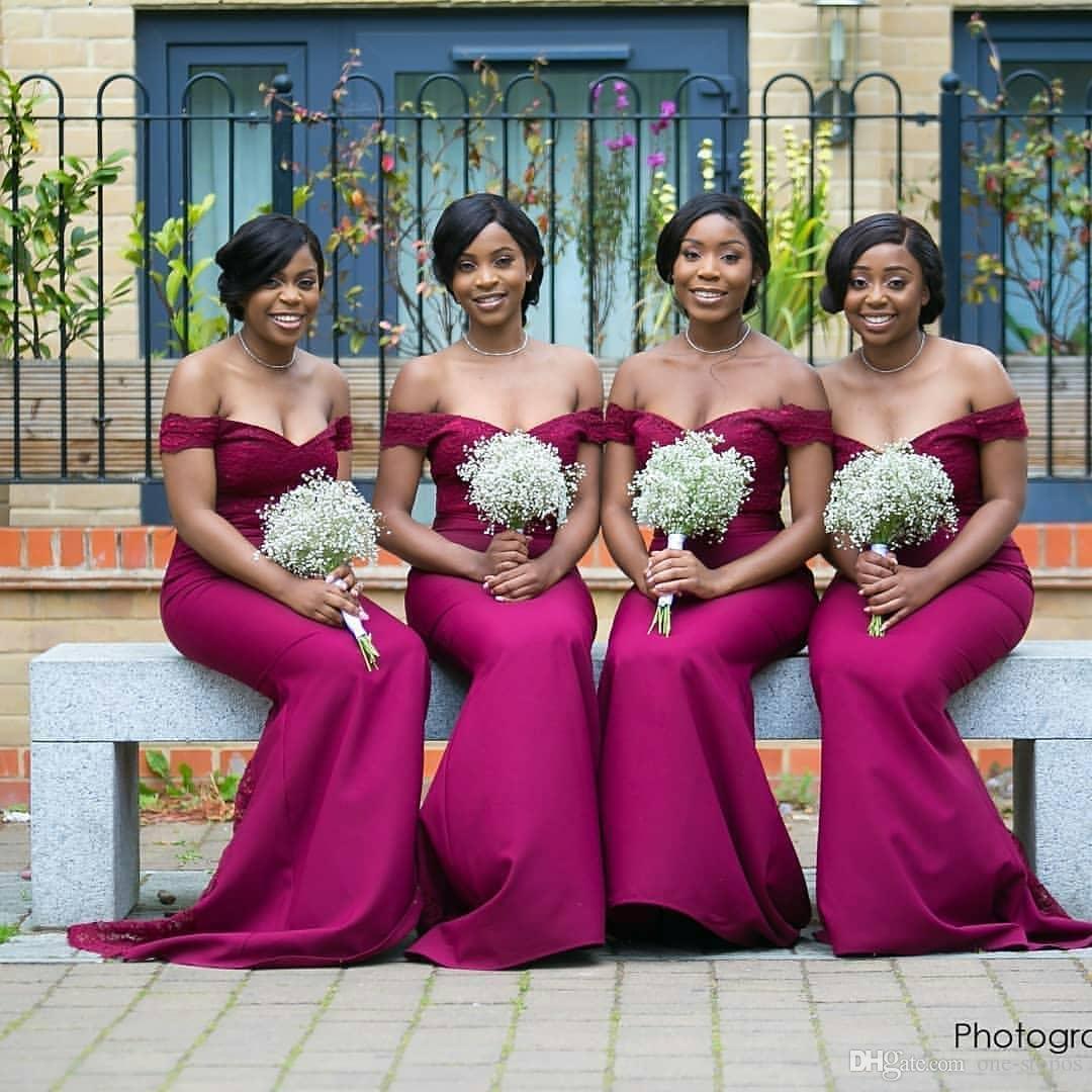 Robe de demoiselle d'honneur sexy sirène fuchsia africaine hors épaule gaine de mariage robe longue formelle soirée robe de bal