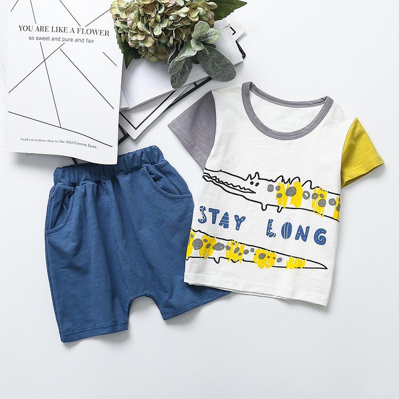 Летняя корейская детская одежда новый с короткими рукавами цвета крокодила шею футболка Харлан шорты мальчиков и девочек из двух частей костюм