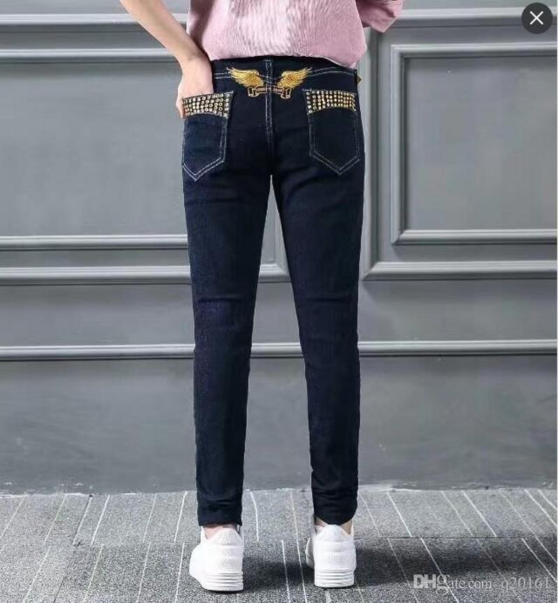 Kadınlar Robins Jeans Moda Sıcak Marka Tasarımcı Robin Denim Pantolon Bayan Lady Jean Elastik Skinny İnce Kartal Kanatlar Nakış