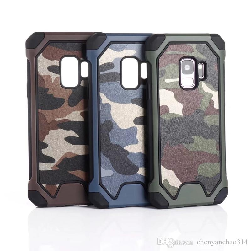 Camouflage Militaire 2in1 Hybrid Case Pour Iphone XR XS MAX X 8 7 6 Note 9 S10 S10e Couverture En Plastique Dur + TPU Défenseur Antichoc