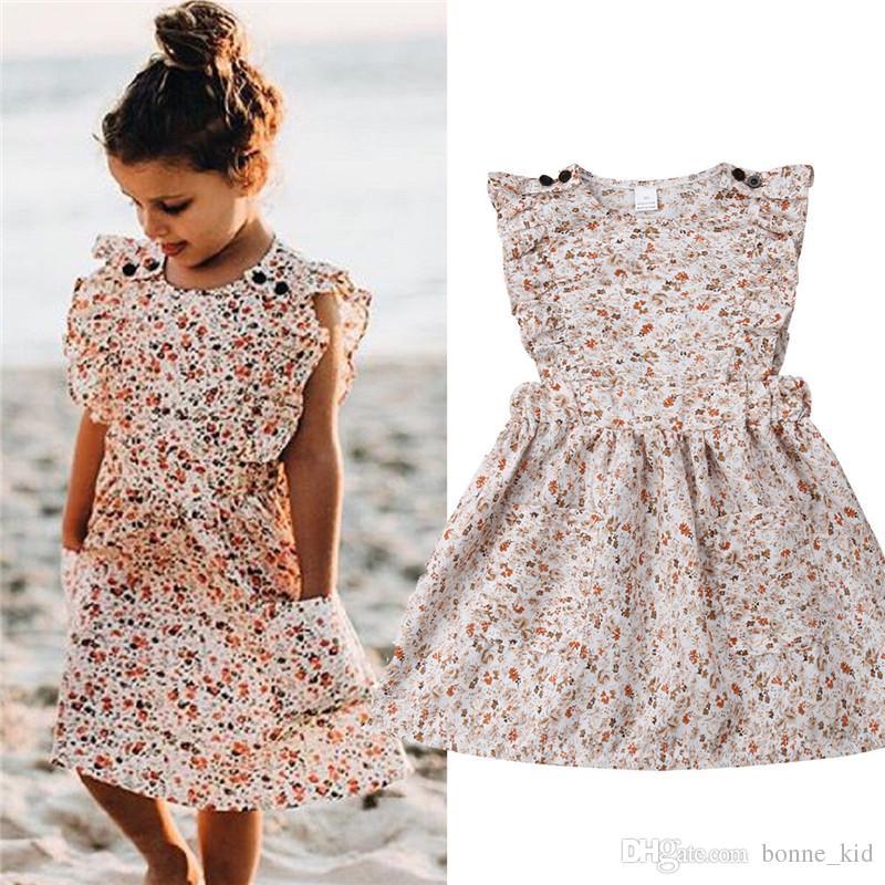 2019 여름 키즈 여자 꽃 민소매 투투 드레스 공주님 캐주얼 복장 아이 드레스 옷 드레스 Vestido Children Fashion Boutique