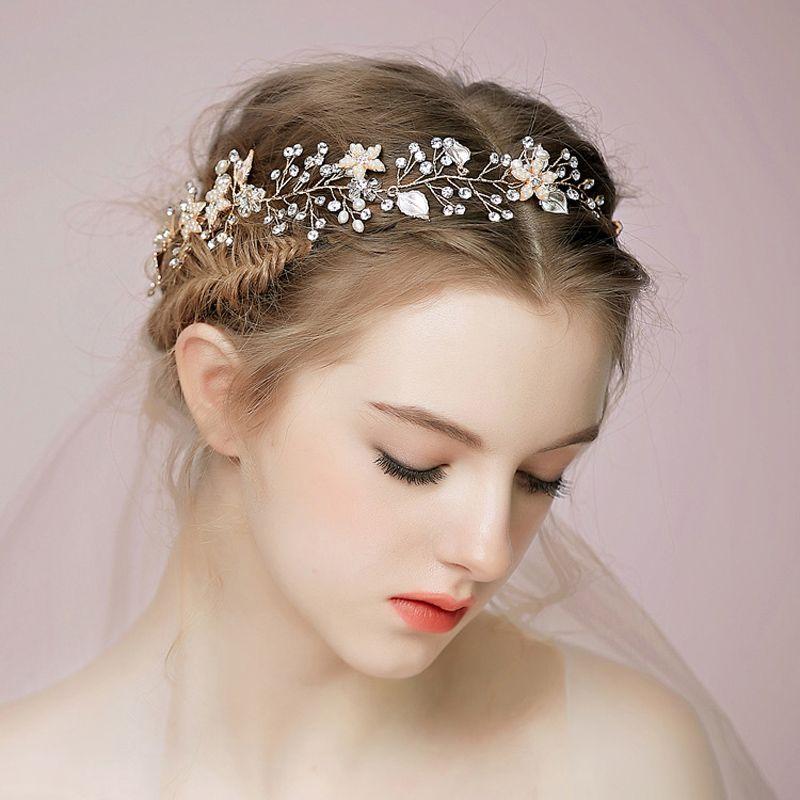 진주 크리스탈 새 신부 머리 띠 라인 석 꽃 여성 수 제 머리 보석 웨딩 헤드 피스 BW-HP509