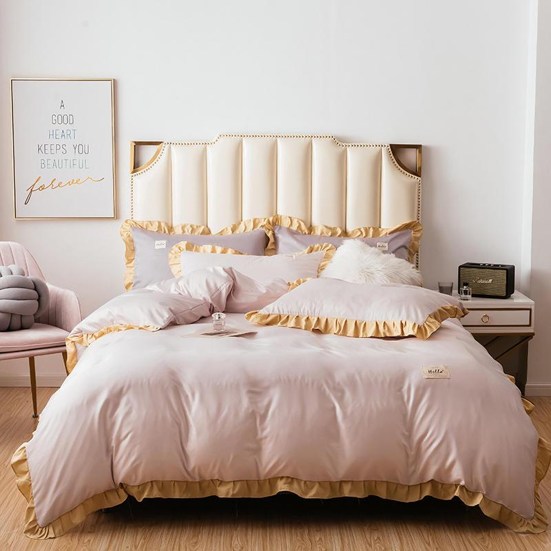 Светло-абрикосовый комплект постельных принадлежностей сплошной цвет одеяло постельные принадлежности наборы длинный штапель хлопок наволочки Queen King Size кровать постельное белье 4 шт.