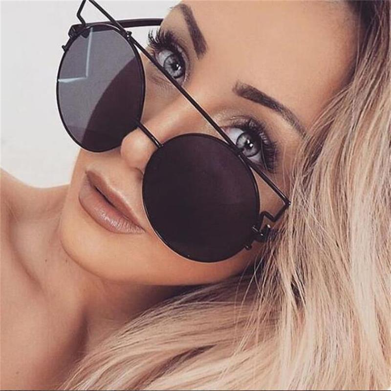 Oversized Round Sunglasses Trend 2018 Metal Frames Big Round Eyewear Red Mirror Sun Glasses Female Circle Glass Brand