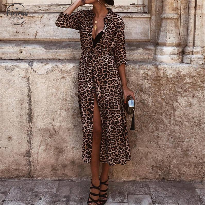 Vestido Mulheres Autumn Ladies leopardo Sexy Mulheres Pescoço V manga comprida vestido de Womens Midi Vestidos queda roupas de festa Evening