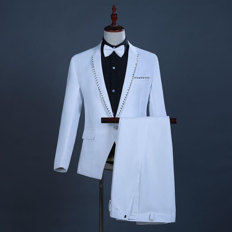 Mens White Diamond Edge 3 Pcs Suits (Jacket+Pants+Bowtie) Slim Fit Stylish Wedding Groom Suits With Pants Costume Homme Mariage
