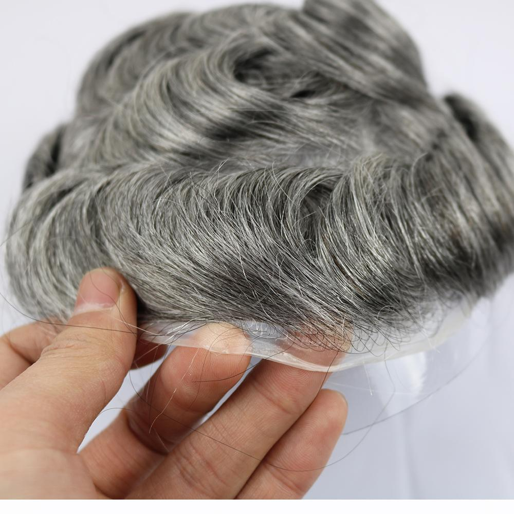 100% Pure Human Hair Men's Toupee Size 8*10 inches Thin Skin Around Wig For Men in the stock