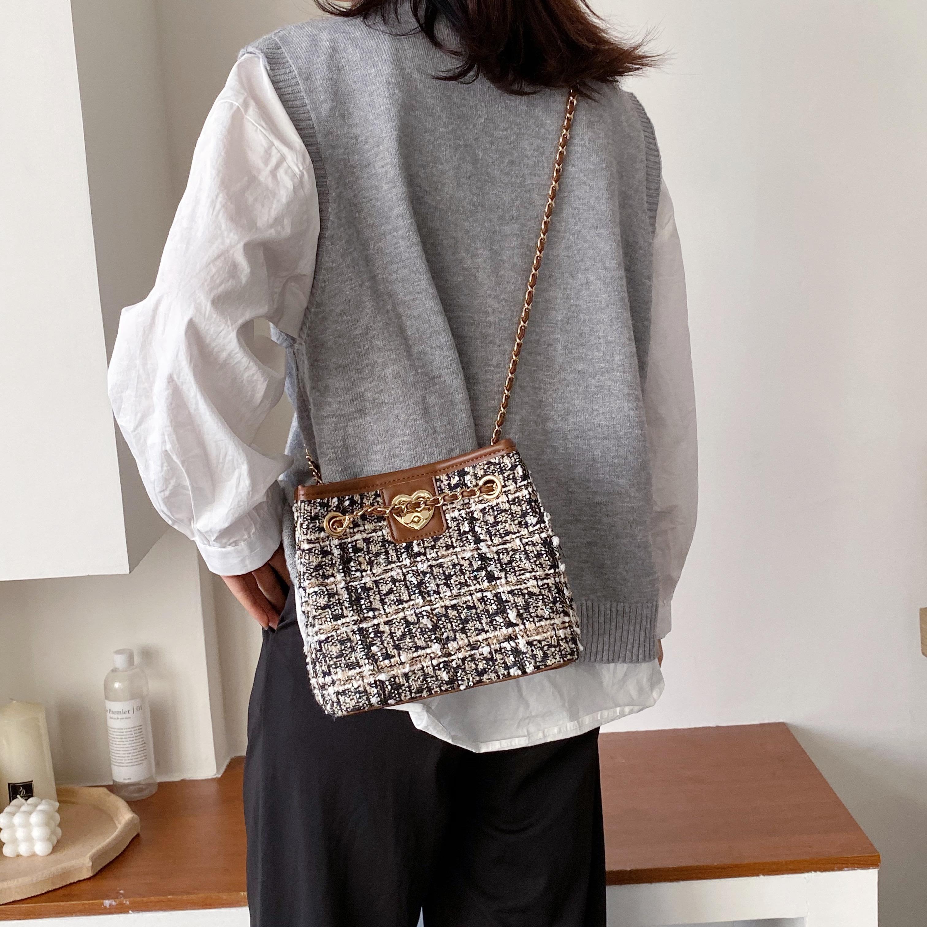 2019 고급 여성 체인 숄더 백 디자이너 품질 격자면 가죽 핸드백 패션 버클 메신저 백을 하트 모양의