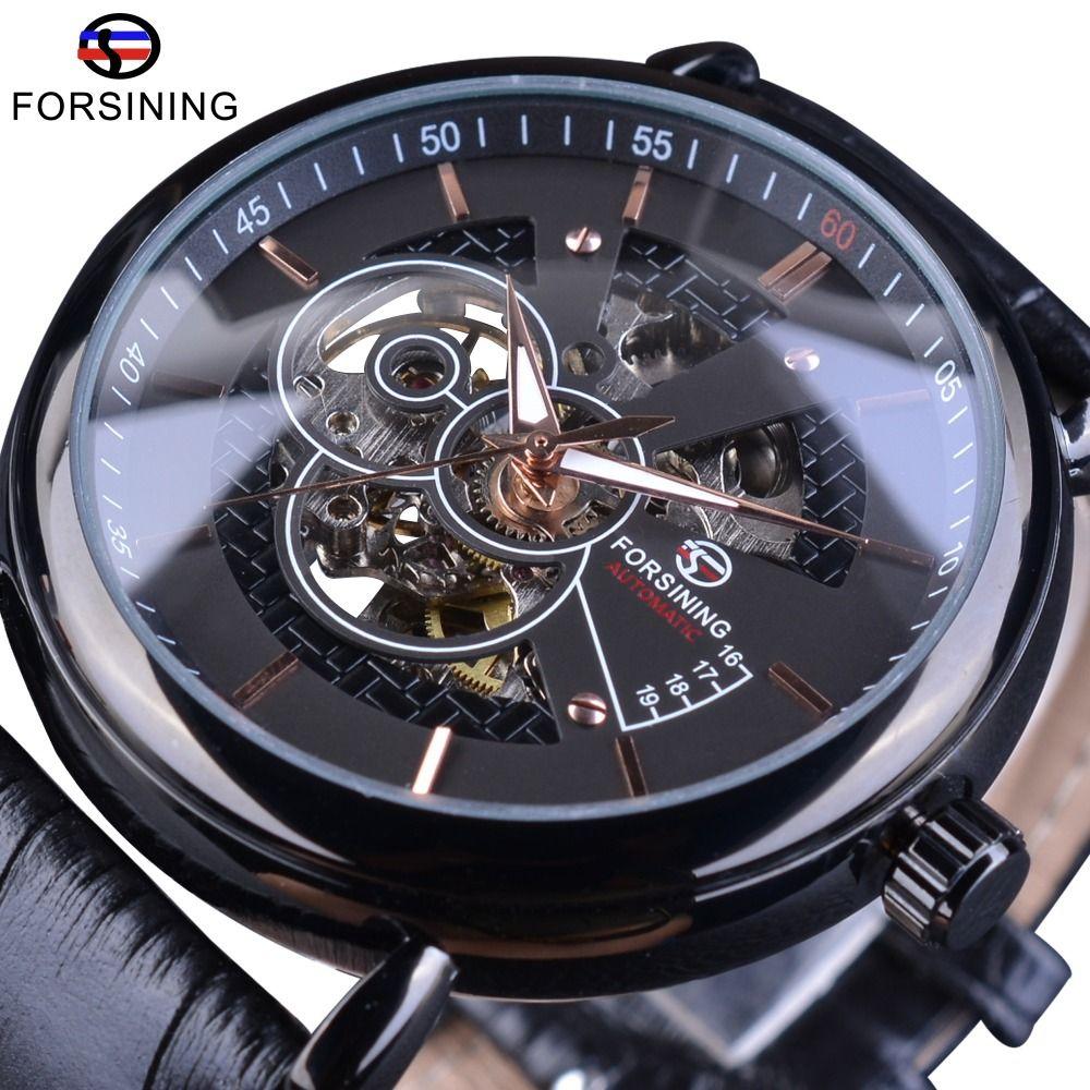 Forsining прозрачный корпус Avigator серии из натуральной кожи ремешок моды Скелет Дизайн Мужчины Автоматические часы Top Brand Luxury