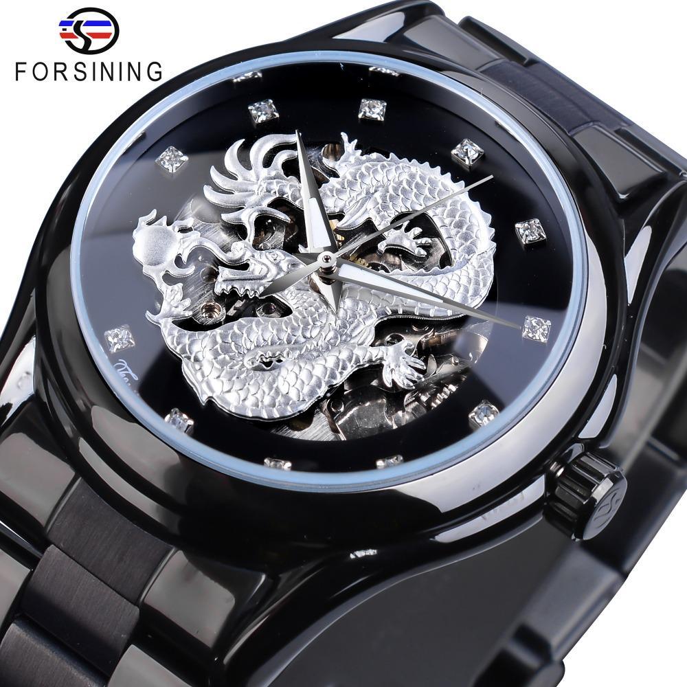 ساعة Forsining الفضة التنين الهيكل العظمي التلقائية الساعات الميكانيكية كريستال الفولاذ المقاوم للصدأ حزام ساعة المعصم للرجال ماء