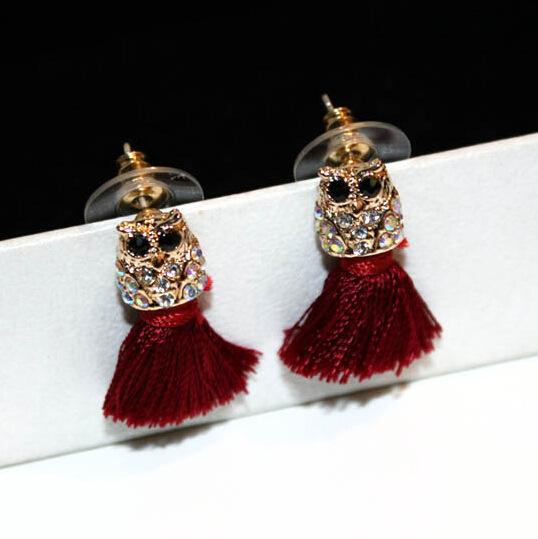 Wholesale- fashion luxury designer glittering cute lovely diamond owl animal tassel stud earrings for woman girls