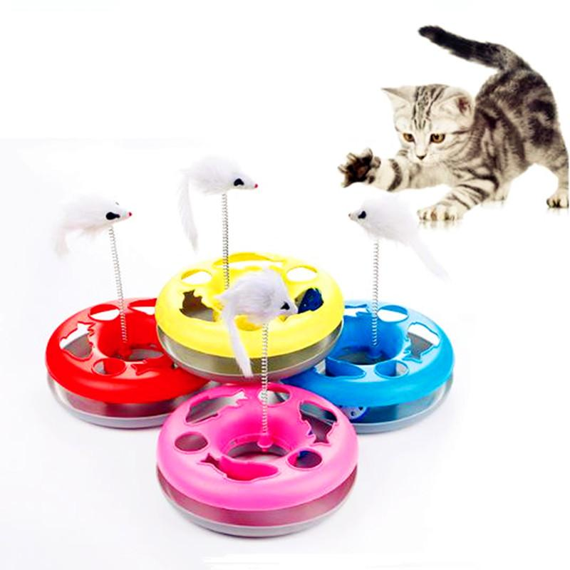 Pet Cat Turntable Training Toy Funny Single-layer Amusement Plate Mouse Pet Interactive Toys Cat Supplies 5 Colors For Gifts