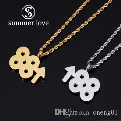 fashion designer 88 up rising pendant necklace hip-hop gold silve long chain titanium steel number necklace personality for men necklaces