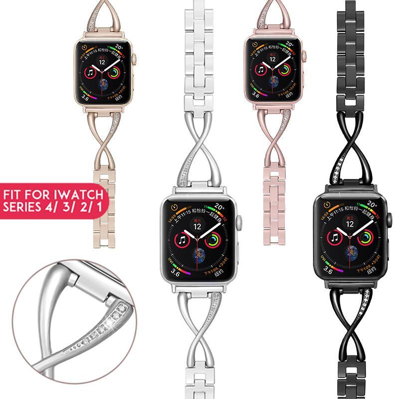 Laforuta Women Bracelet for Apple Watch Band 40mm 38mm Luxury iWatch Diamond Metal Strap for Series 43 Fashion Bling Wristbandn