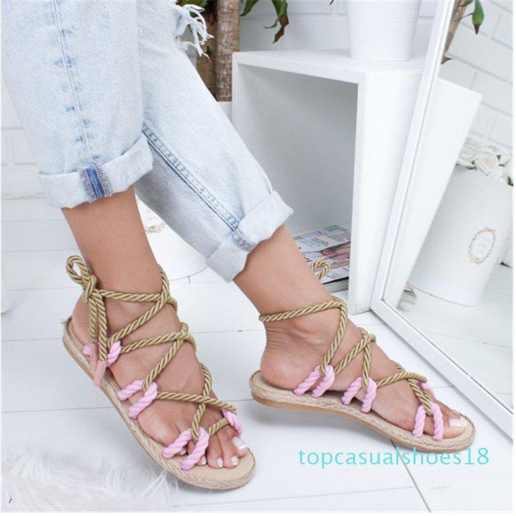 Zapatos de las mujeres Zapatos con cordones de cuerda Playa sandalia estilo de las mujeres de los holgazanes Absorber el sudor t18